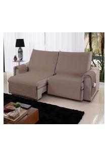 Xále Protetor Sofá Retrátil Reclinável Assento 1,60M Capuccino