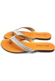 Rasteira Love Shoes Chinelo Corrente Com Mini Strass Prata