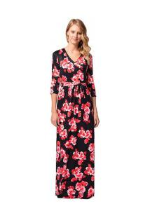 Vestido Longo Estampa De Rosas Com Laço Manga 3/4 - Vermelho/Preto