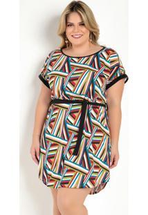 Vestido Curto Geométrico Com Faixa Plus Size