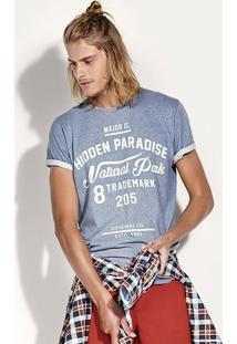 Camiseta Regular Masculina Em Algodão Com Lavanderia Jeans