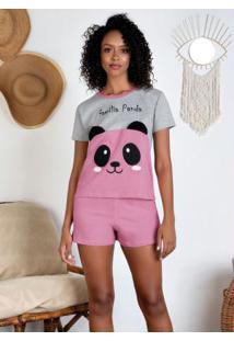 Pijama Mangas Curtas Com Bordado Mescla E Rosa