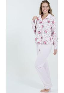 a1cb24f1e ... Pijama Feminino Manga Longa Estampa Floral Marisa