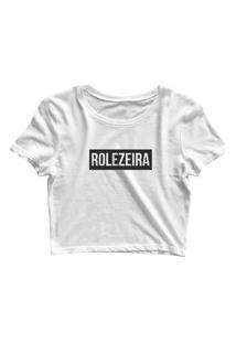 Blusa Blusinha Feminina Cropped Tshirt Camiseta Rolezeira Branco