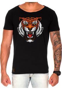 Camiseta Lucas Lunny T Shirt Gola Canoa Estampada Tigre