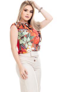 Blusa Clara Arruda Tricot Raglan Estampada 20327 Floral