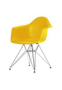 Cadeira Eames Com Braco Base Cromada Amarelo Fosco - 24498 Amarelo