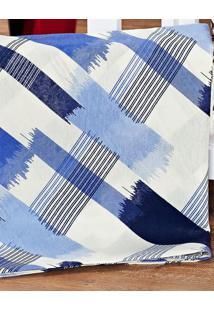 Capa De Travesseirão Rafaela Xadrez Azul 1,40M X 45Cm Com 1 Peça - Aquarela