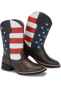 Bota Country Texana Couro Big Bull Estados Unidos Cano Alto - Masculino