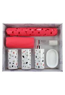 Kit De Banheiro Completo Jacki Design 6Pçs Vermelho E Branco Cozy
