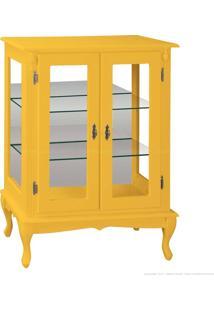 Cristaleira Baixa 2 Portas De Vidro Pés Luiz Xv 1055-E 106 X 80 X 40 Amarelo - Urbe Móveis