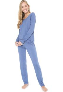 Pijama Lupo Longo Renda Azul