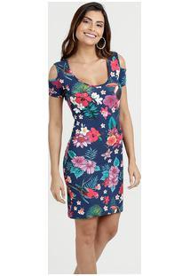 Vestido Feminino Open Shoulder Estampa Floral Anabela