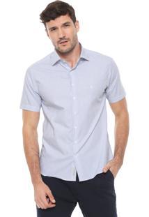 Camisa Dudalina Slim Maquineta Branca/Azul