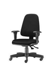 Cadeira Sky Presidente Com Bracos Curvados Assento Crepe Base Metalica Preta - 54801 Preto