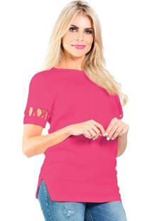 Blusas Karin Feller Blusa Manga Curta Pink