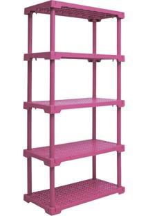 Estante Cube Com 5 Prateleiras Rosa