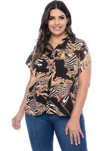 Camisa Marileti Plus Size Mullet Correntes Preto
