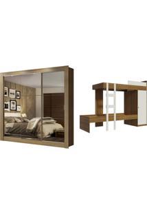Kit Madesa Guarda-Roupa Infantil Texas Plus 3 Portas De Correr De Espelho + Beliche Larissa Marrom - Tricae