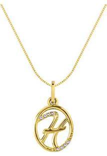 Pingente Letra H Ouro Amarelo E Diamantes 15 Mm