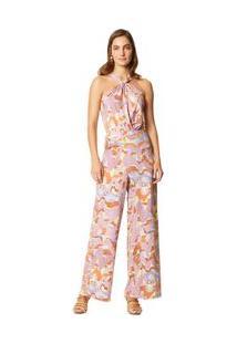 Calça Maria.Valentina Pantalona Cós Amarração Transpasse Frente Rosa
