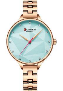 Relógio Curren Analógico C9047L Rosê E Azul - Tricae
