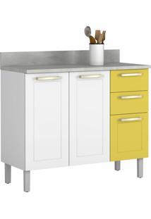 Balcão De Cozinha 105 Cm Branco/Amarelo Claro - Itatiaia