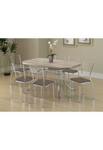 Mesa 1507 Nogueira Cromada Com 6 Cadeiras 1700 Camurça Conhaque Carraro