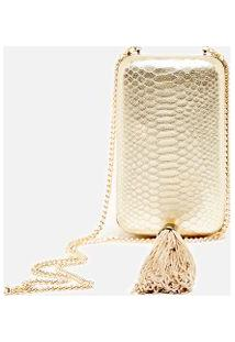 Clutch Leather Snake Mônaco Ouro - U
