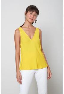Blusa Oh, Boy! Básica Crepe Feminina - Feminino-Amarelo
