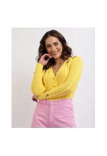 Cardigan Feminino Mindset Com Bordado De Flores Decote V E Botões Amarelo