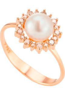 Anel Ouro Rosé Pérola E Diamantes Brown