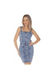 Vestido Jeans Denim Zero Curto Fechamento Com Botões