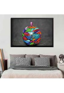 Quadro Com Moldura Colored Apple Preto - Médio