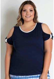 Blusa Marinho Com Ombros Vazados Plus Size
