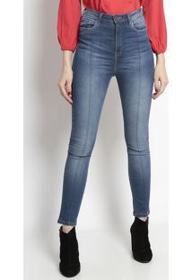 Jeans Skinny Com Recorte- Azultvz