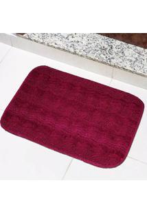 Tapete Para Banheiro Tapetes Junior Esmeralda Em Polipropileno 40X60Cm Bordô Antiderrapante