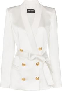Balmain Blazer Com Cinto - Branco