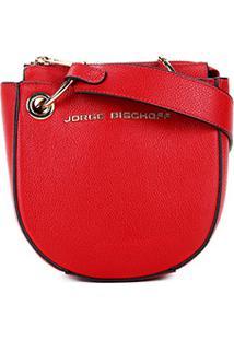 Bolsa Couro Jorge Bischoff Mini Bag Transversal Argolas Feminina - Feminino-Vermelho