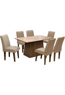 Conjunto De Mesa Para Sala De Jantar C/ Tampo De Vidro E 6 CadeirasFlorença – Dobuê. - Castanho / Bege / Mascavo