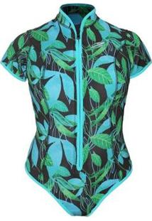 Body Manga Curta Frontzip 1Mm Feminino Surf Mormaii - Feminino-Estampado Azul
