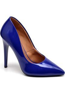 Scarpin Casual Ellas Online Salto Alto Feminino - Feminino-Azul Escuro