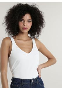 Regata Feminina Mindset Canelada Decote V Off White