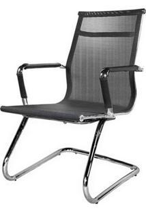 Cadeira Escritorio Eames Alta P-036F Preta Cromada - 18208 - Sun House