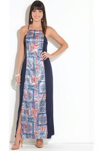 Vestido Quintess Longo Azul Com Fenda