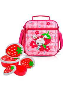 Kit Lancheira Necessaire Térmica Infantil Escolar + 4 Potinho Alimentos Rosa - Kanui