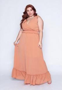 Vestido Longo Plus Size Lastex Feminino - Feminino-Caramelo