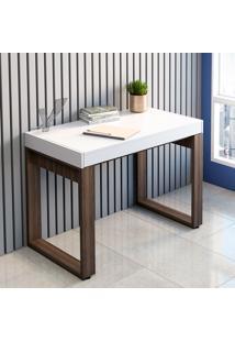 Mesa Para Computador Com 1 Gaveta Squadra – Artany - Branco / Nogal