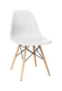 Cadeira Eiffel Charles Eames Branca F01 Com Base De Madeira Dsw - Mpoz