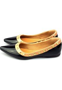 Sapatilha Love Shoes Bico Fino Valentino Spike Verniz Preto